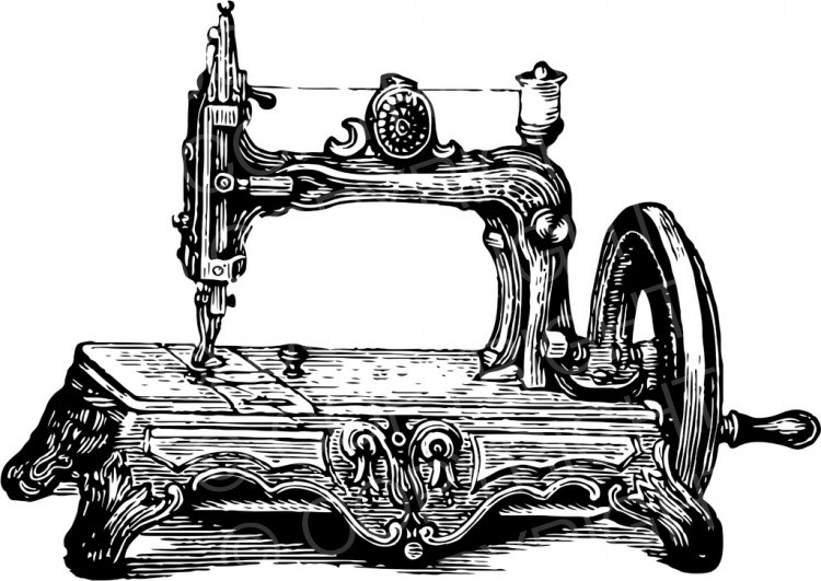 Clipart black and white old sewing machines picture royalty free download Old Sewing Machine Vintage Black and White Clip Art Objects – Prawny ... picture royalty free download