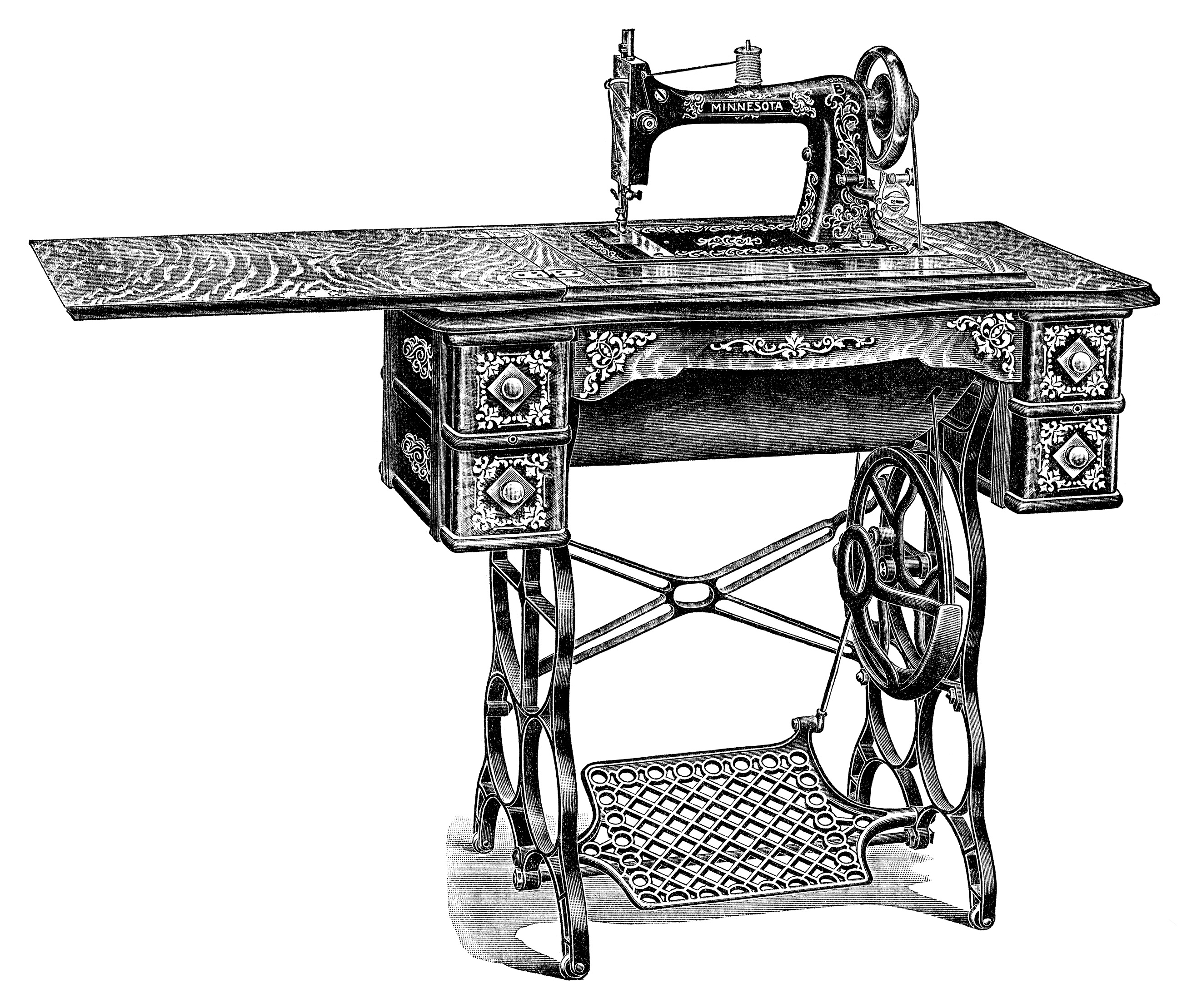 Sewing table clipart jpg free library Vintage Sewing Machine Clip Art - Old Design Shop Blog jpg free library