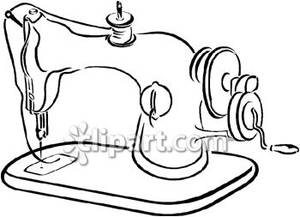 Clipart black and white old sewing machines banner library Black and White Old Sewing Machine - Royalty Free Clipart Picture banner library
