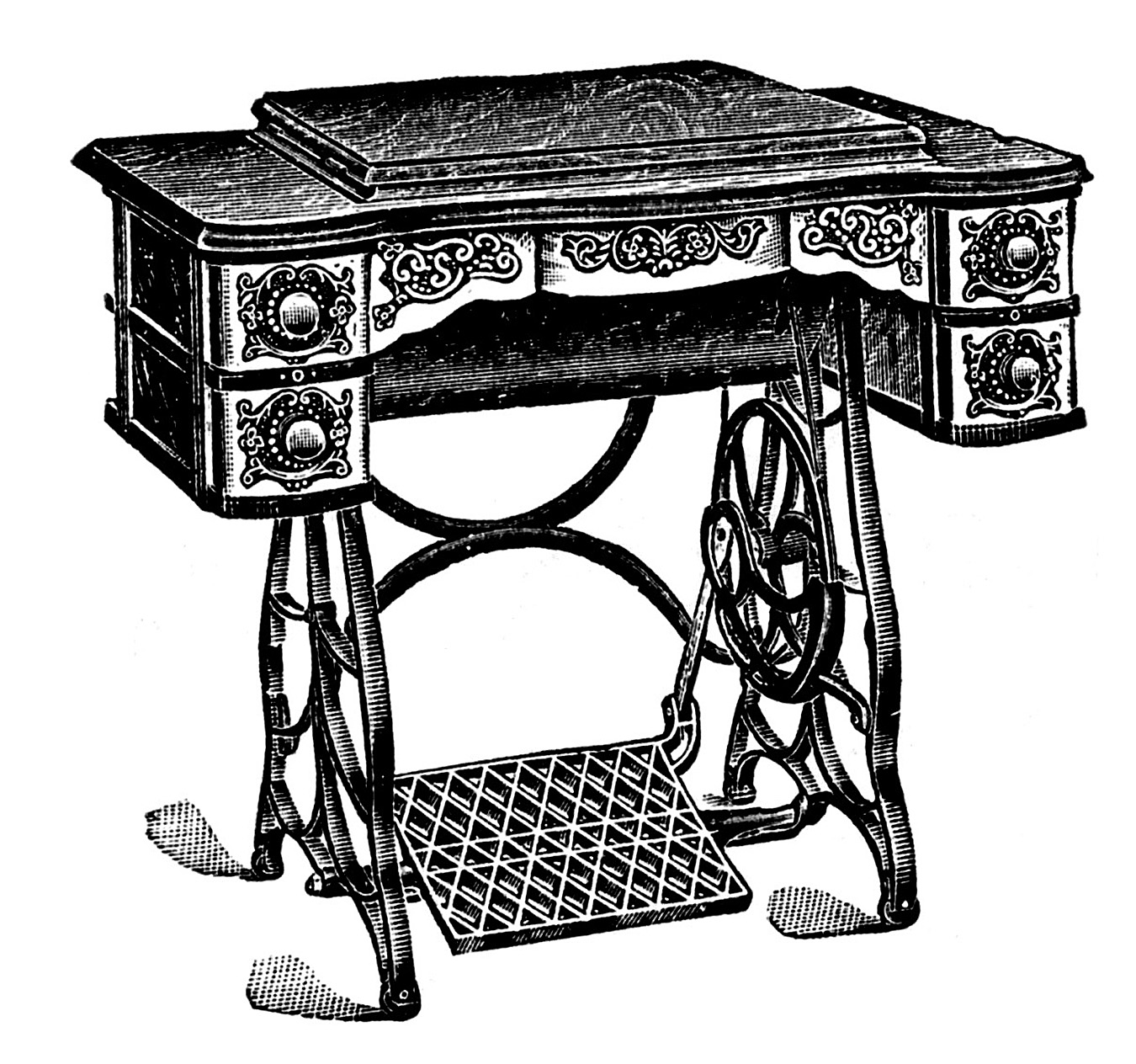 Clipart black and white old sewing machines picture royalty free download 6 Antique Sewing Machine Pictures! - The Graphics Fairy picture royalty free download