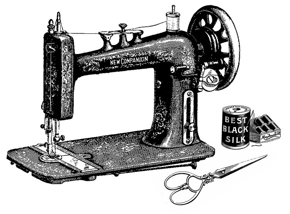 Clipart vintage sewing machine stock Clip Art Sewing Machines Vintage Machine Scissors And Clever Clipart ... stock