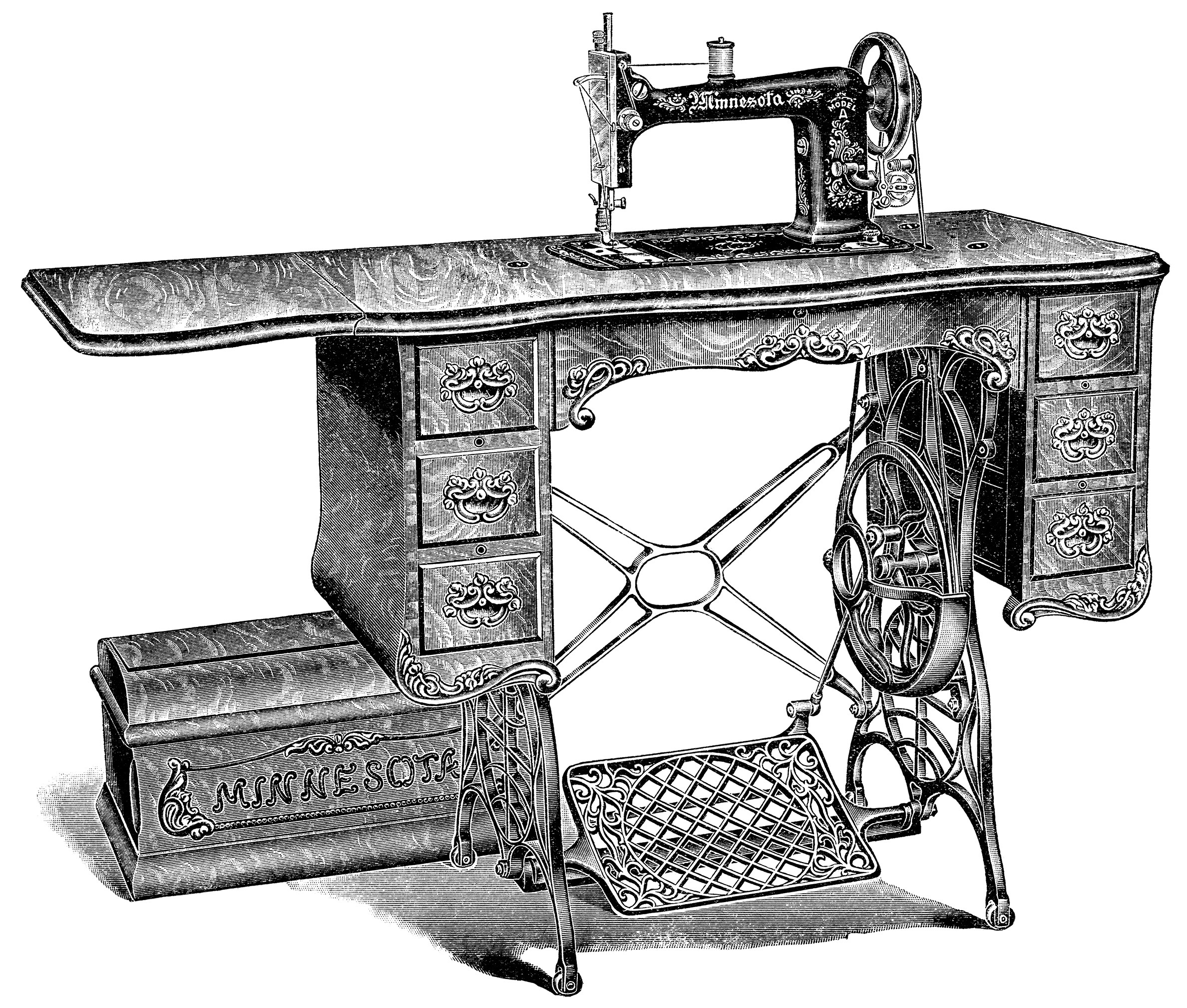 Clipart black and white old sewing machines banner freeuse library Vintage Sewing Machine Clip Art - Old Design Shop Blog banner freeuse library