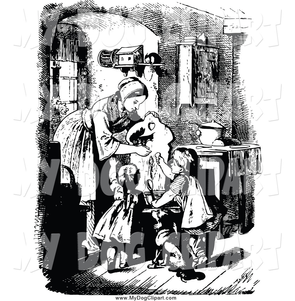 Clipart old time mom working black and white graphic library Clip Art of a Retro Black and White Mother and Children Feeding a ... graphic library