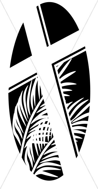 Clipart black and white palm sunday cross banner Oval Cross with Palms in Black and White   Lent Clipart banner