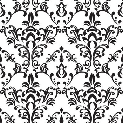 Clipart black and white patterns picture library library Simple Free Black and White Damask Vector Pattern - Backgrounds ... picture library library