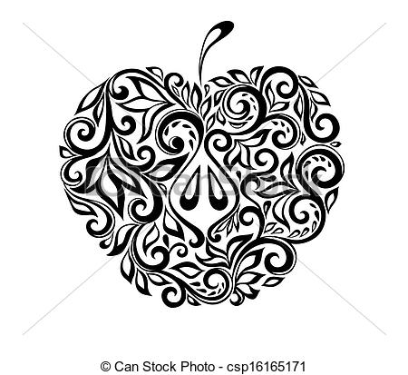 Clipart black and white patterns svg royalty free stock Vectors Illustration of beautiful black and white apple decorated ... svg royalty free stock