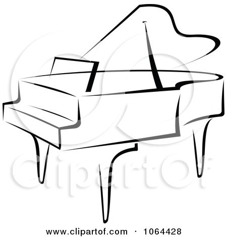 Piano black and white clipart clip library library Clipart Grand Piano In Black And White - Royalty Free Vector ... clip library library