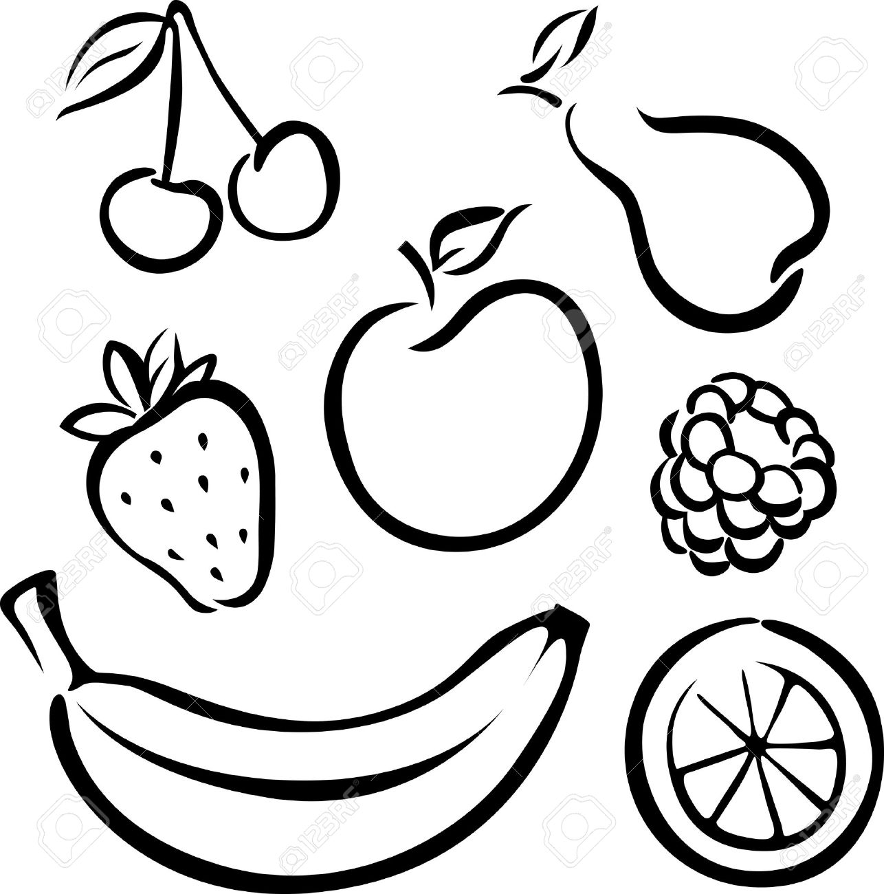 Clipart black and white pictures of fruits image royalty free download Fruit Clipart Black And White   Free download best Fruit Clipart ... image royalty free download