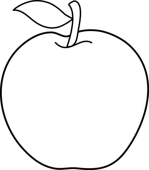 Black and white outline. Free clipart apple row