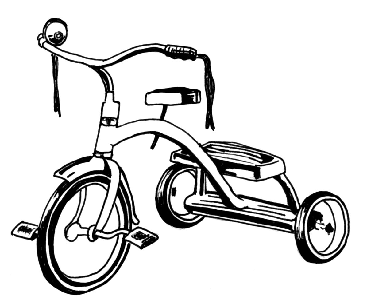 Tricycle clipart coloring page for free download and use images in ... vector transparent library