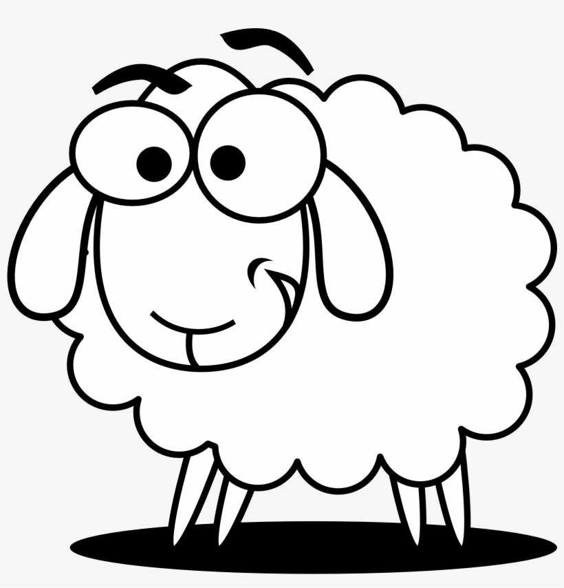 Funny sheep clipart graphic free library Funny Sheep Outline Clip Art - Sheep Clipart Black And White - Free ... graphic free library