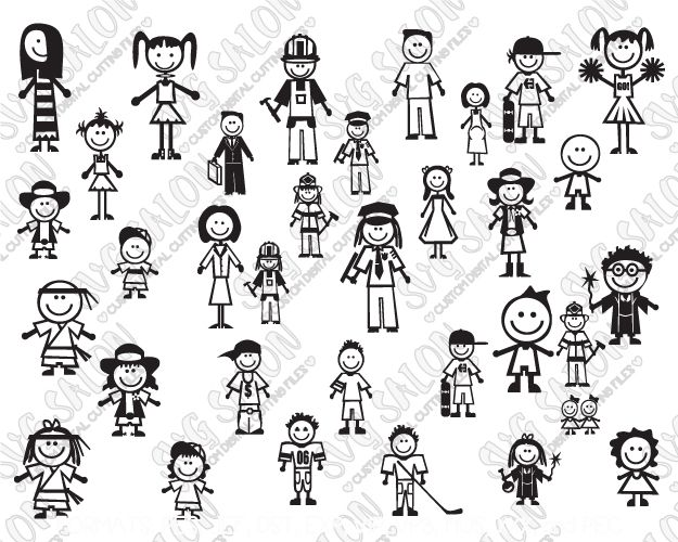 Clipart black and white stick figure family decal clipart transparent Family Stick Figure Car Decal Cut File Set in SVG, EPS, DXF, JPEG ... clipart transparent