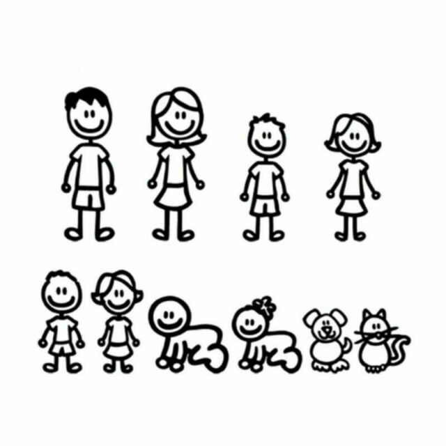 Clipart black and white stick figure family decal graphic transparent stock My Family Car Decal Window Sticker Truck SUV Van Laptop Stick Figure Member  MAL graphic transparent stock