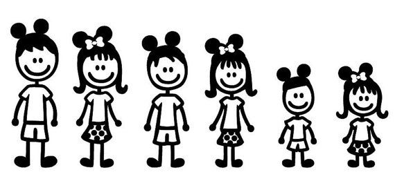 Clipart black and white stick figure family decal picture stock Disney Stick Figure Family set of 5 by SweetSerendipityShop ... picture stock