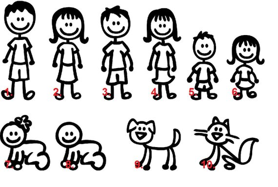 Clipart black and white stick figure family decal banner free Set of 4 Stick Figure Family Car Decal, Stick Figure Decal, Family ... banner free