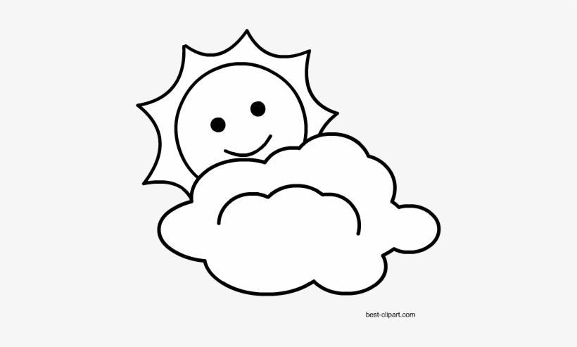 Clipart black and white sun and cloud svg black and white download Black And White Cloud With Sun Free Clipart - Clip Art - Free ... svg black and white download
