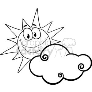 Clipart black and white sun and cloud clip art free Cartoon Character Smiling Sun Behind The Cloud clipart. Royalty-free  clipart # 379532 clip art free