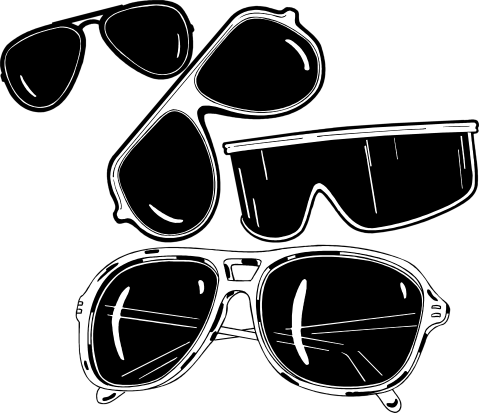 Sun with sunglasses clipart black and white banner library Sunglasses | Free Stock Photo | Illustration of various sun glasses ... banner library