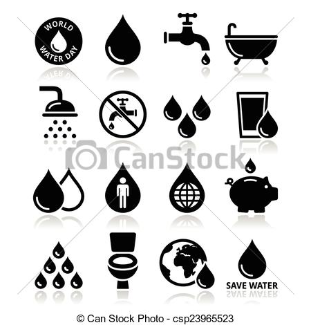 Clipart black and white symbol water logo graphic freeuse Vector Illustration of World Water Day icons - ecology - Vector ... graphic freeuse