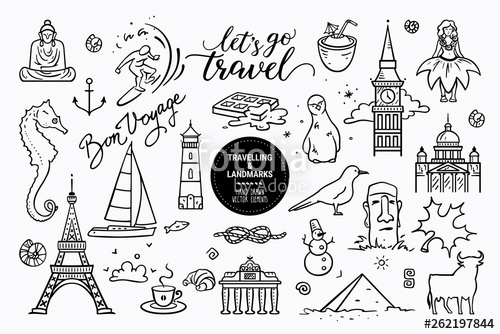 Clipart black and white traveling doodle illustrations banner free European sights, landmarks all around the world, travel icons ... banner free