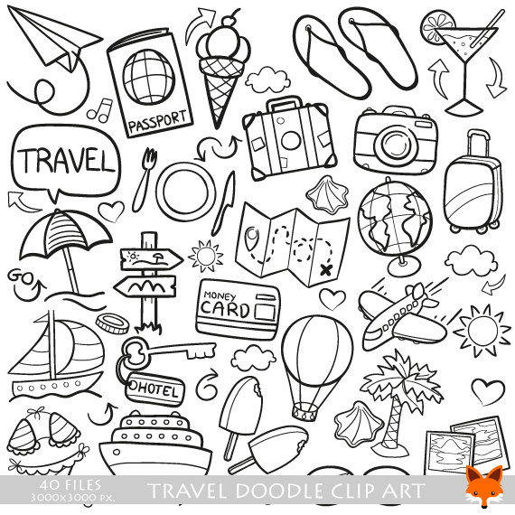 Clipart black and white traveling doodle illustrations banner royalty free VECTOR EPS Travel Traveling Friends and Family Trip Holidays Summer ... banner royalty free