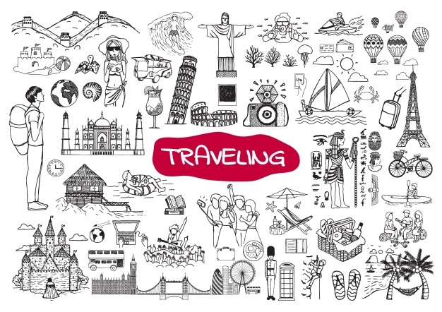 Clipart black and white traveling doodle illustrations graphic black and white stock Travel Doodles Vectors, Photos and PSD files | Free Download graphic black and white stock