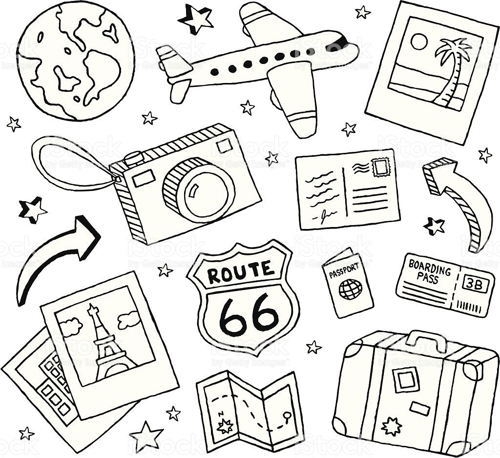 Clipart black and white traveling doodle illustrations image library download A collection of travel-themed doodles. | Clip Art | Travel doodles ... image library download
