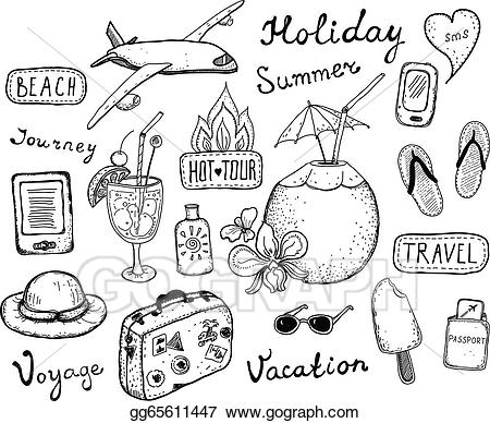 Clipart black and white traveling doodle illustrations clipart free library Vector Illustration - Travel doodle elements set. Stock Clip Art ... clipart free library