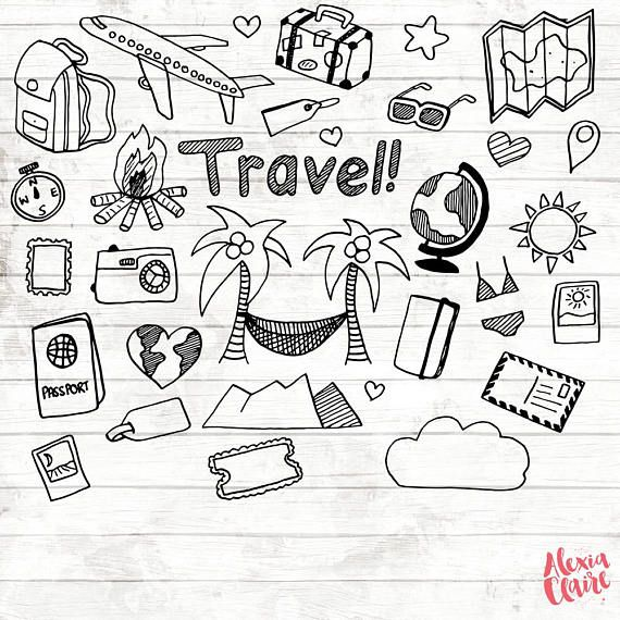 Clipart black and white traveling doodle illustrations svg transparent library Travel Clipart - 17 Hand Drawn Vacation PNG - Travel planner sticker ... svg transparent library