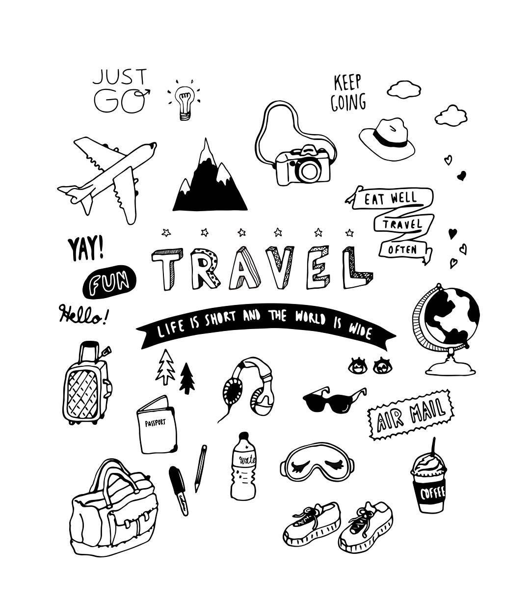 Clipart black and white traveling doodle illustrations png stock travel #doodle | Doodles | Travel doodles, Bullet journal travel ... png stock
