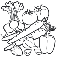 Fruits and veggies clipart black and white picture freeuse library Black And White Vegetables Png & Free Black And White Vegetables.png ... picture freeuse library