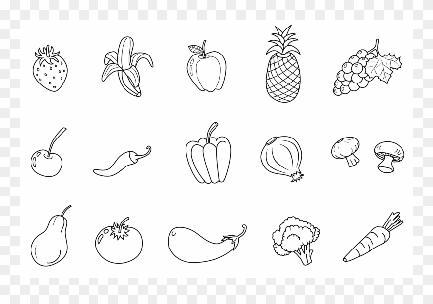 Eating fruits and vegetables clipart black and white vector library stock Vegetables Black And White Vegetables Clipart Black - Png Download ... vector library stock