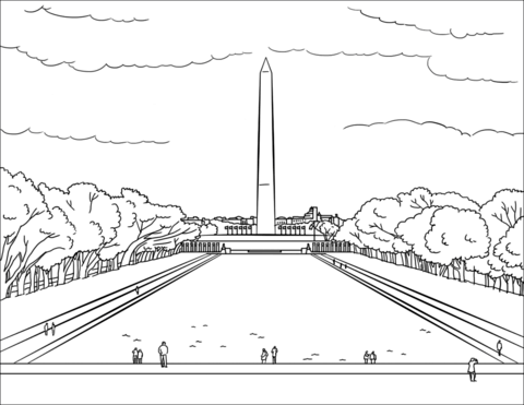 Clipart black and white washington monument black and white download Washington Monument coloring page | Free Printable Coloring Pages black and white download