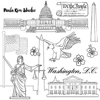 Clipart black and white washington monument freeuse download Washington D.C. Federal Government Clip Art Watercolor freeuse download