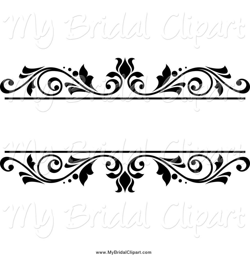 Wedding frame clipart clip freeuse library Bridal Clipart of a Black and White Floral Wedding Frame by ... clip freeuse library