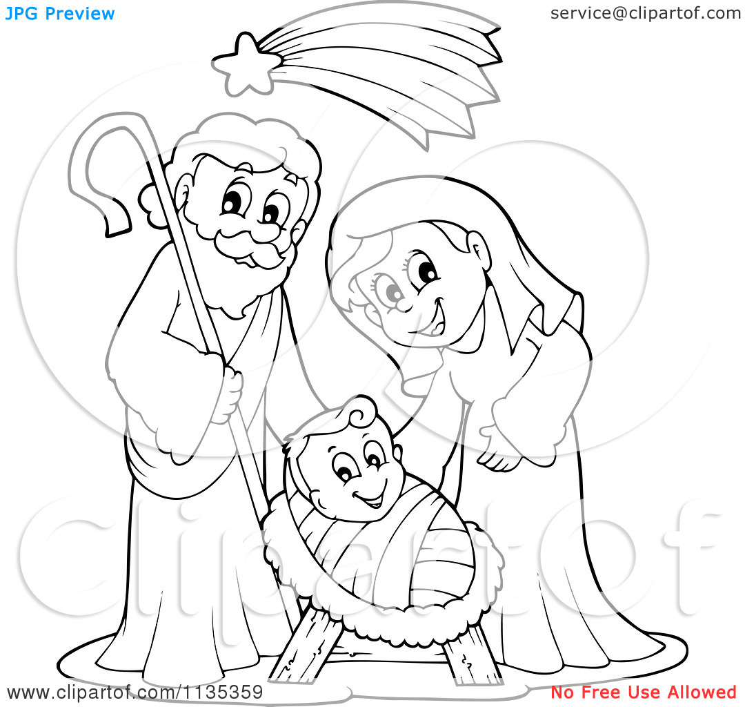 Clipart black mary joseph and jesus photo transparent Cartoon Of An Outlined Joseph Virgin Mary And Baby Jesus Nativity ... transparent