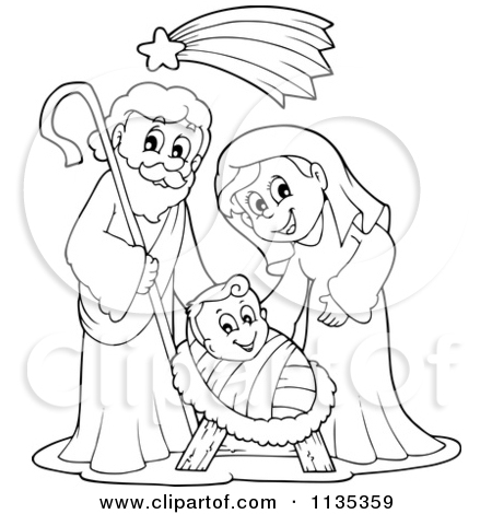 Clipart black mary joseph and jesus photo banner royalty free download Royalty-Free (RF) Clipart Illustration of a Nativity Scene With ... banner royalty free download