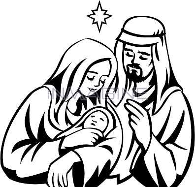 Clipart black mary joseph and jesus photo svg black and white stock Mary joseph and baby jesus clipart black and white - ClipartFest svg black and white stock