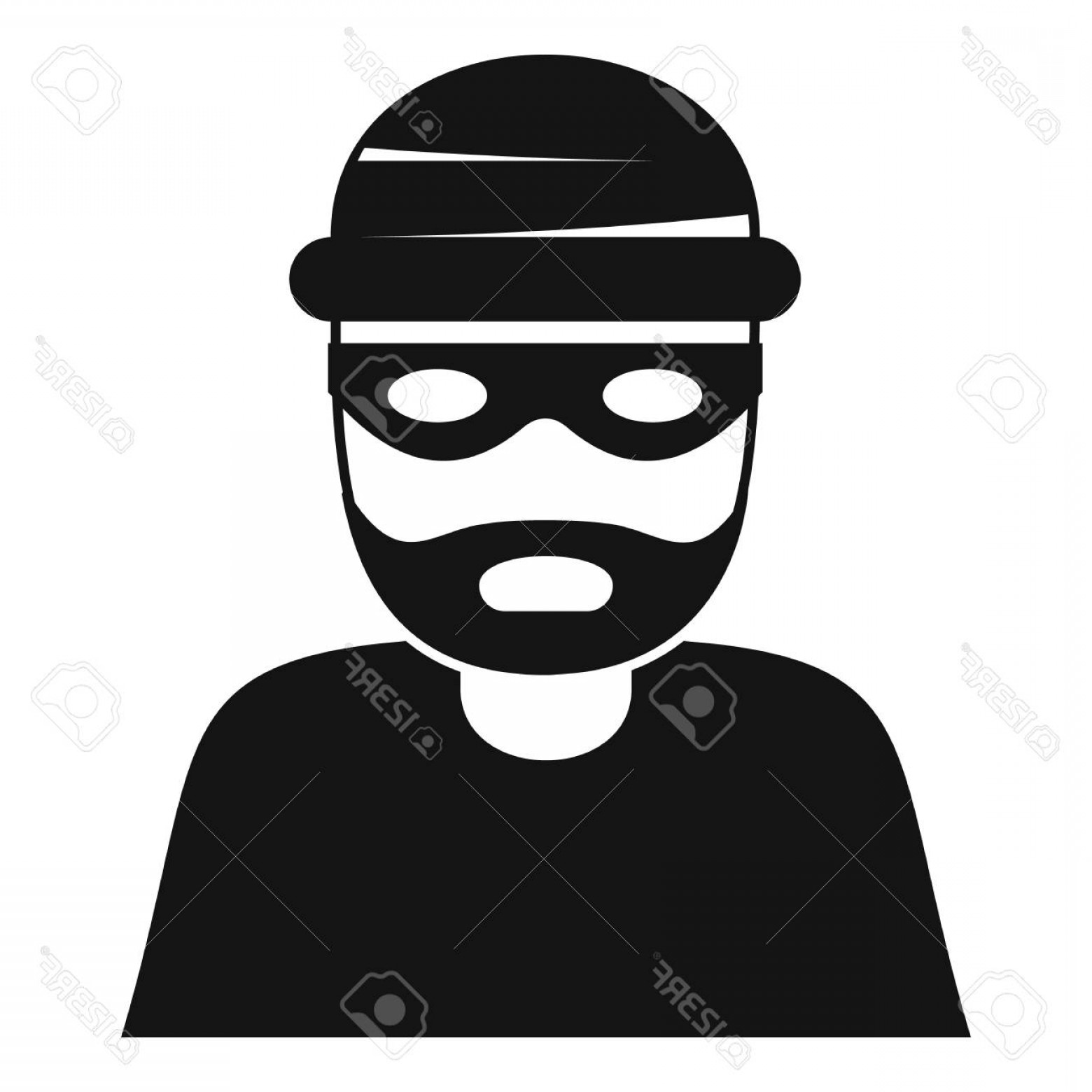 Clipart black of theif and white coverd face jpg black and white Photostock Vector Thief Icon Simple Illustration Of Thief Vector ... jpg black and white
