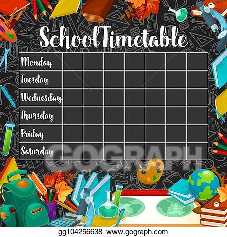 Clipart blackboard school schedule image freeuse download Vector Stock - School timetable or lesson schedule on chalkboard ... image freeuse download