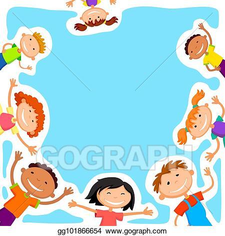 Clipart blank background summer jpg freeuse stock Clip Art Vector - Vector background blank with kids summer camp ... jpg freeuse stock
