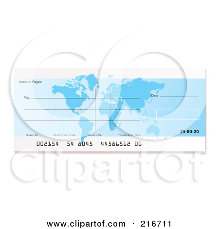 Clipart blank bank check banner transparent Royalty-Free (RF) Clipart Illustration of a Blank Blue Bank Check ... banner transparent