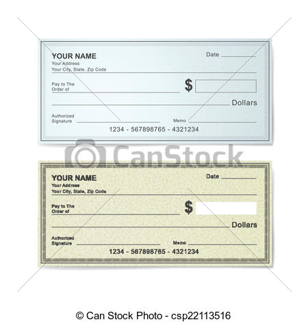 Clipart blank bank check clipart freeuse download Vector Clip Art of blank bank check template isolated on white ... clipart freeuse download