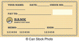 Clipart blank bank check picture black and white library Blank check Clip Art Vector Graphics. 4,008 Blank check EPS ... picture black and white library