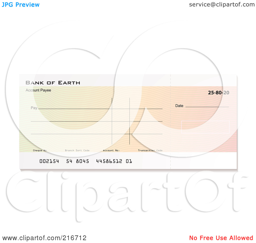 Clipart blank bank check picture black and white Royalty-Free (RF) Clipart Illustration of a Blank Gradient Bank ... picture black and white