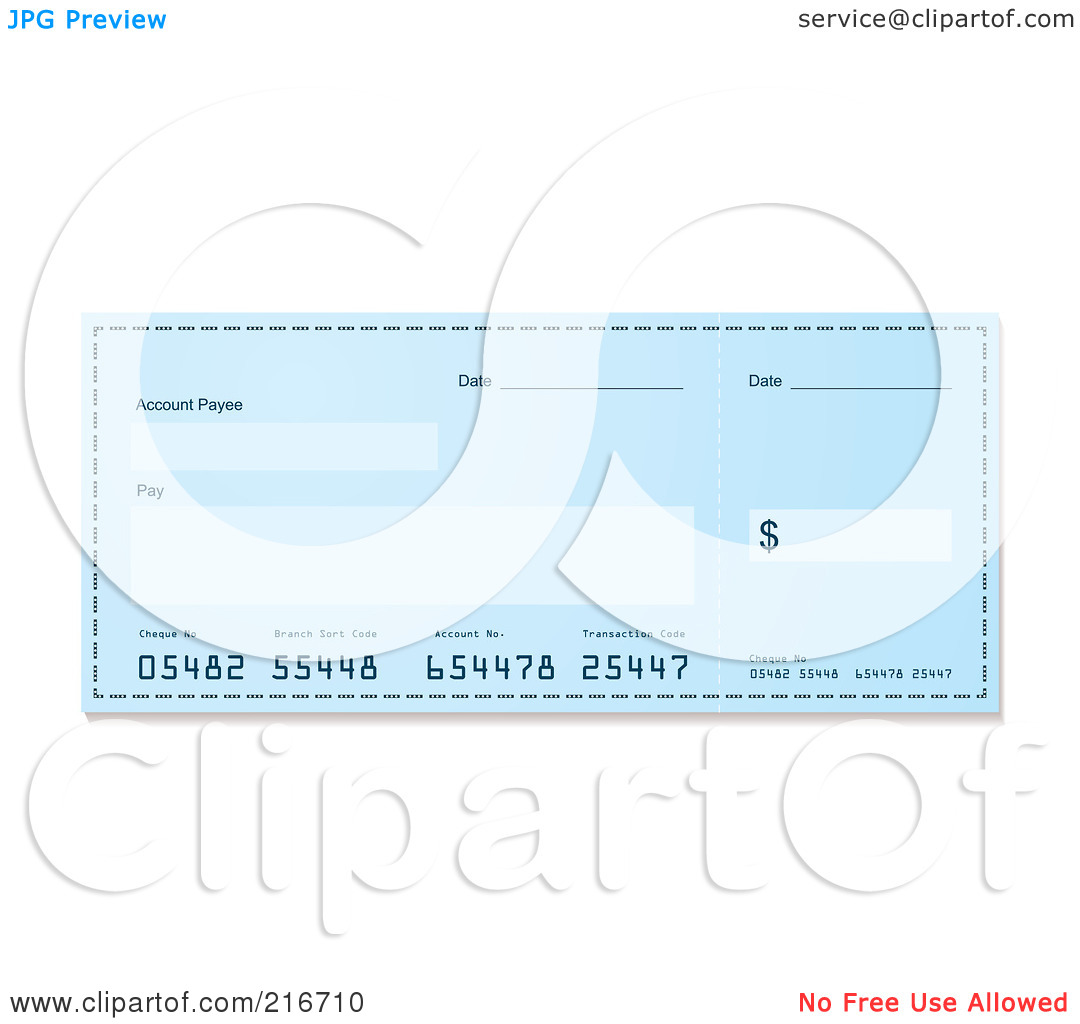 Clipart blank bank check picture free library Royalty-Free (RF) Clipart Illustration of a Blank Blue Bank Check ... picture free library
