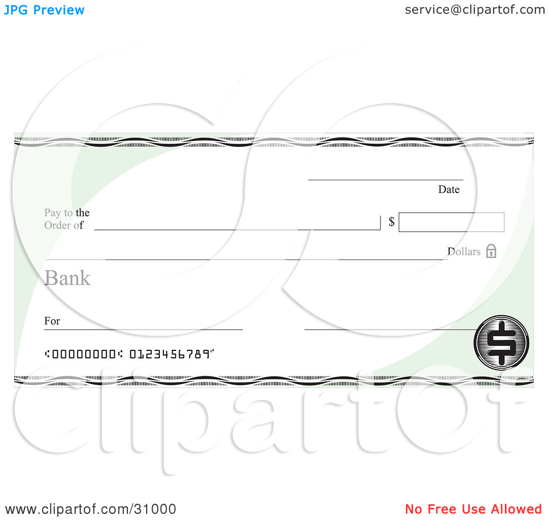 Clipart blank bank check graphic freeuse library Clipart Illustration of a Blank Bank Check With Green Corners And ... graphic freeuse library