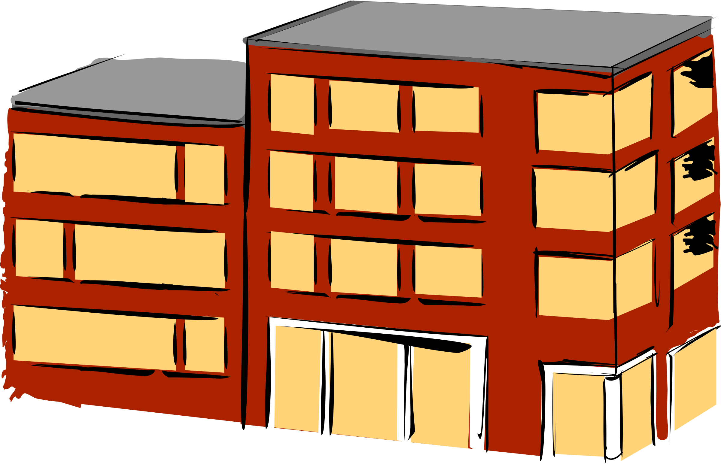 Clipart block of flats picture black and white download Clipart - Apartment building picture black and white download