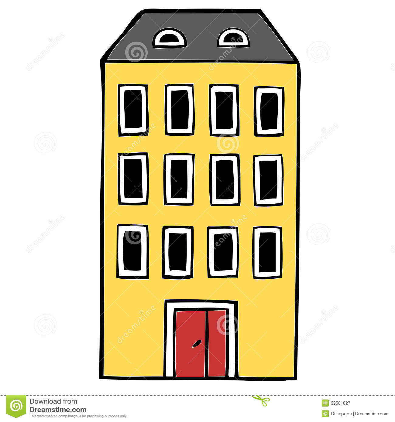 Clipart block of flats jpg black and white stock Apartment Block Stock Illustration - Image: 39581827 jpg black and white stock