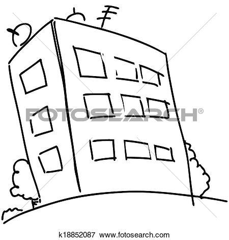 Clipart block of flats clip art freeuse Clip Art of Cartoon block of flats k18852087 - Search Clipart ... clip art freeuse